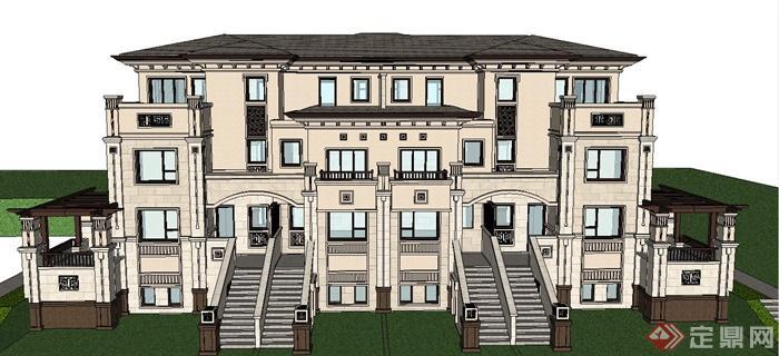欧式三层双拼住宅别墅建筑设计su模型[原创]