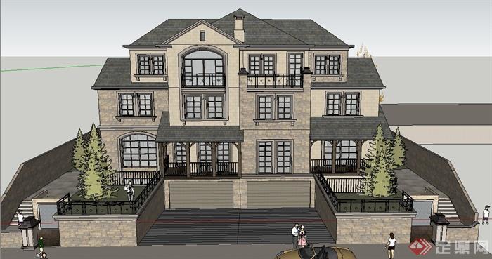 某三层坡屋顶欧式风格独栋别墅建筑设计su模型[原创]