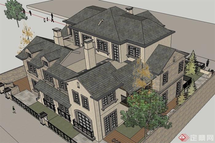 某三层坡屋顶欧式风格独栋别墅建筑设计su模型(4)
