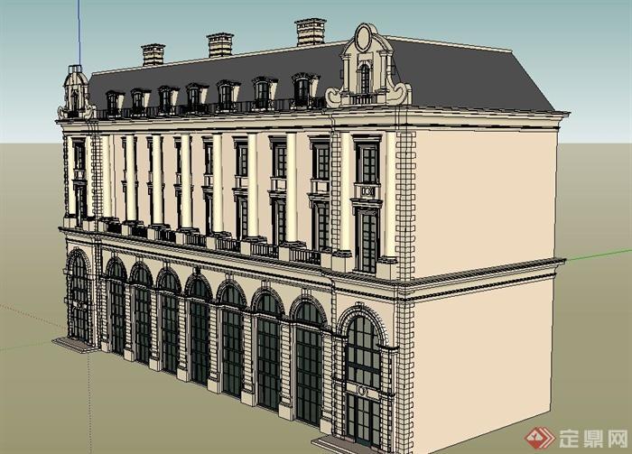 某欧式三层商业单体建筑设计su模型[原创]
