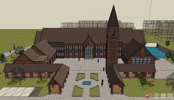 某两层英式会所酒店建筑设计su模型[原创]