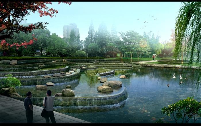 湿地公园景观规划设计psd效果图