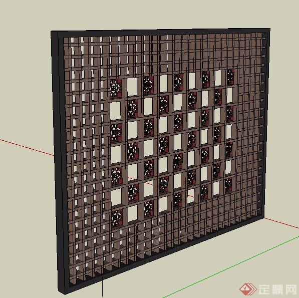 木质镂空景墙设计su模型