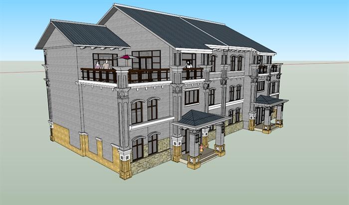 某三层联排别墅建筑设计su模型[原创]