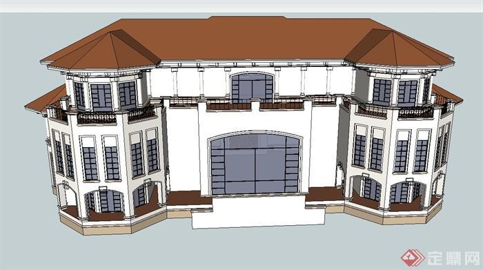 某欧式三层会所娱乐建筑设计su模型(3)