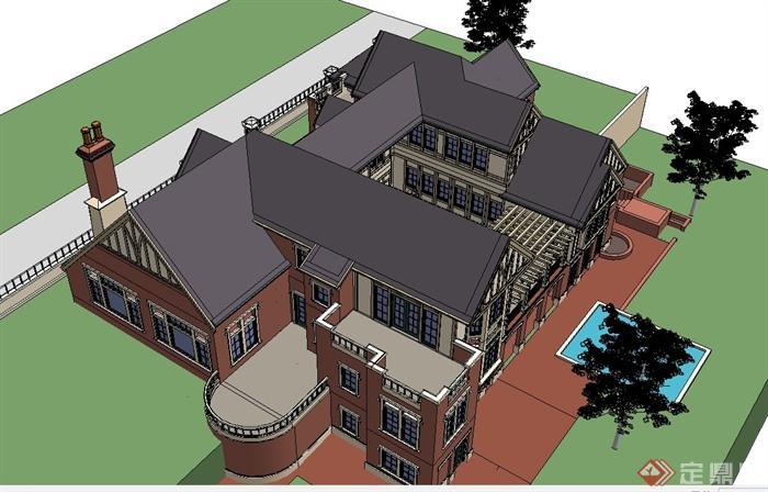 欧式两层坡屋顶别墅建筑设计su模型[原创]