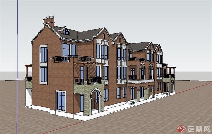 某小区欧式三层住宅建筑设计su模型[原创]