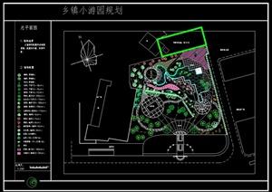 乡镇小游园规划设计cad总平面图(含植被配置)-园林景观设计完整方图片