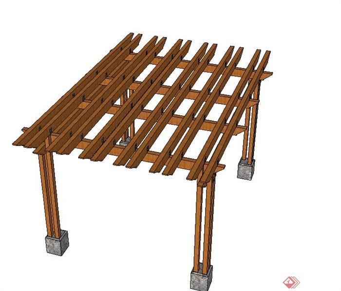园林景观节点木质中式廊架设计su模型[原创]