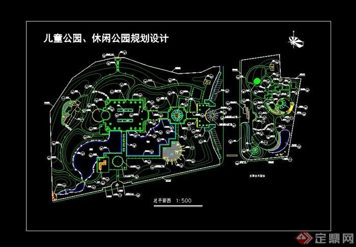 闲公园规划设计cad总平面图图片