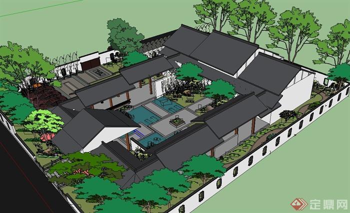 中式古建园林院落景观设计su模型(2)