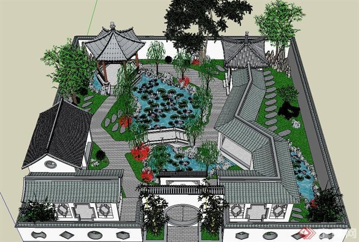 古典中式古建园林院落景观设计su模型(1)