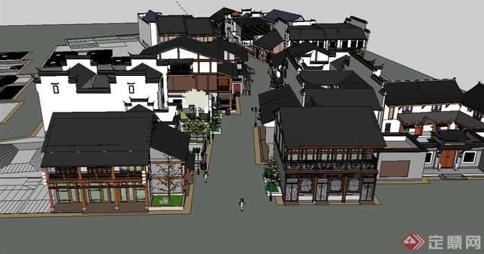 两个现代中式商业街建筑设计su素材