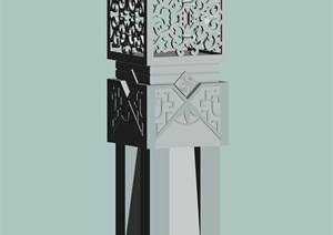 古典中式景观雕花石柱设计3d模型