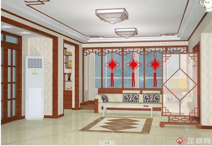 中式田园风格住宅室内装修设计cad施工图,效果图,3dmax模型图(1)