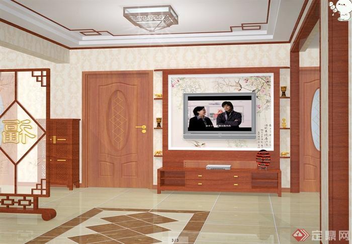 中式田园风格住宅室内装修设计cad施工图,效果图,3dmax模型图(3)