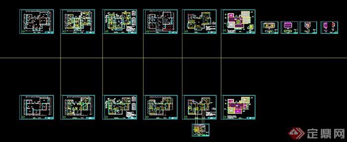 中式田园风格住宅室内装修设计cad施工图,效果图,3dmax模型图(4)