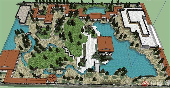 中式古建园林公园景观设计su模型(1)