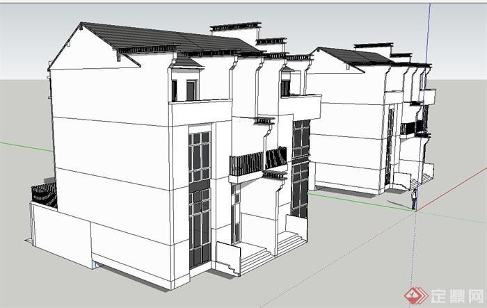 现代中式两层双拼别墅建筑设计su模型[原创]