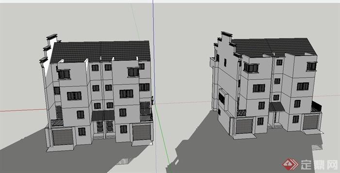 現代中式兩層雙拼別墅建筑設計su模型[原創]