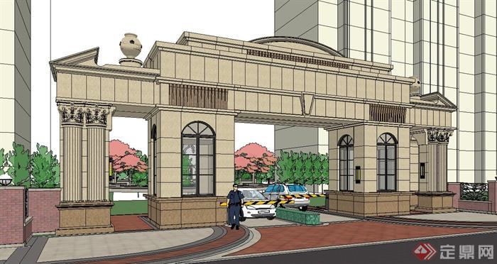 欧式风格住宅小区入口大门设计su模型[原创]