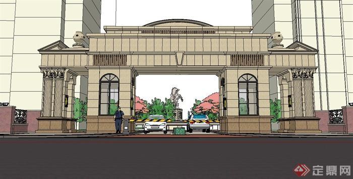 欧式风格住宅小区入口大门设计su模型(4)