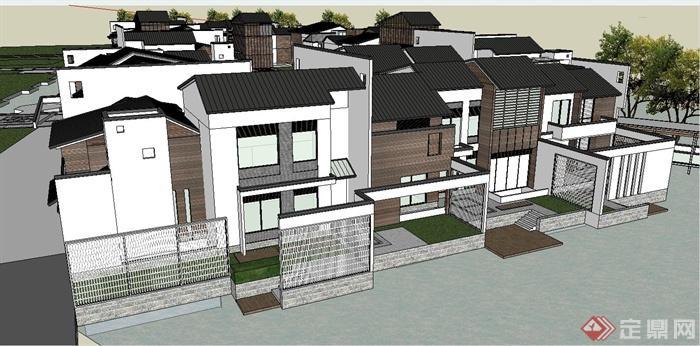某两层现代中式别墅建筑群设计su模型(3)