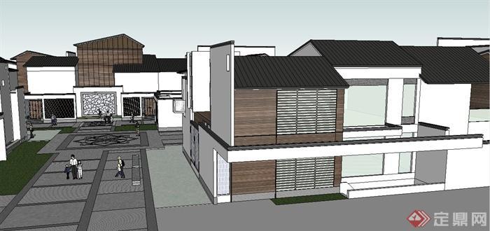 某两层现代中式别墅建筑群设计su模型(4)