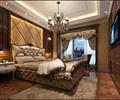双人床,床头柜,吊灯,椅子,背景墙,地毯,地面铺装,窗帘布艺,卧室