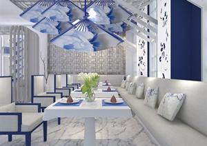 青花瓷中式餐厅设计(含3d模型、展板、cad方案、ppt)