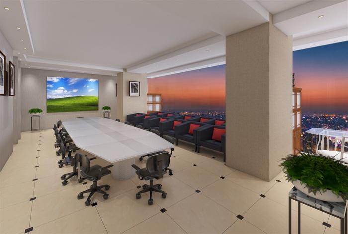 某办公室SU草图大师模型+渲染效果图(2)