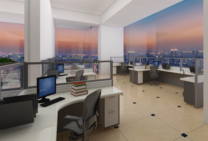 某办公室SU草图大师模型+渲染效果图(5)