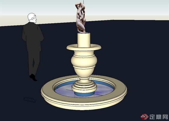 某欧式水景设计su模型(含人物雕塑