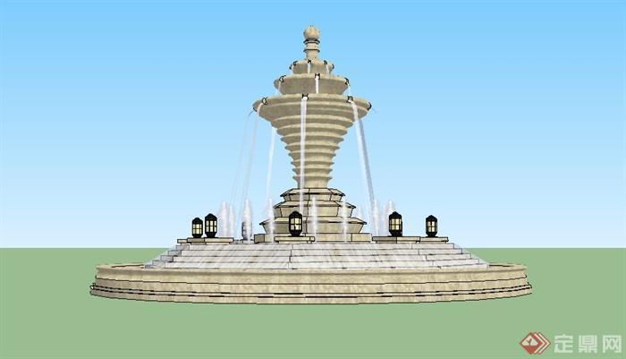 某欧式精致喷泉水景设计su模型[原创]