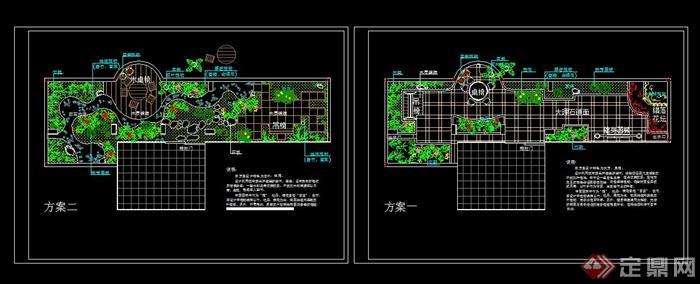 屋顶花园绿化设计cad平面图 2种方案