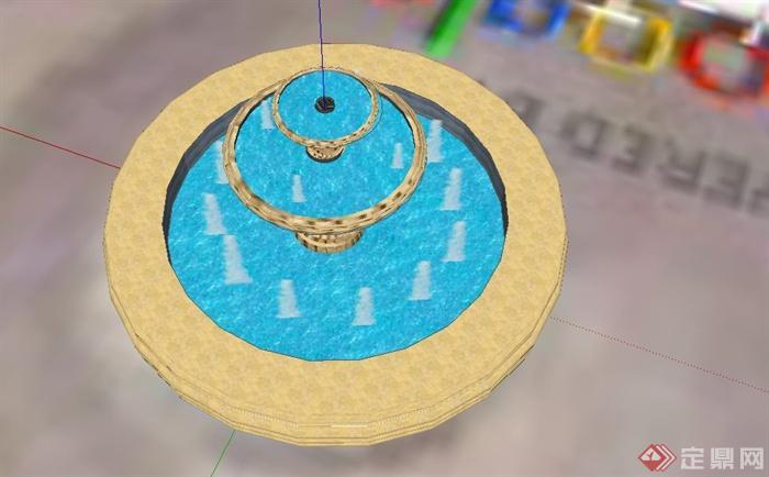 欧式水钵喷泉水池设计su模型[原创]