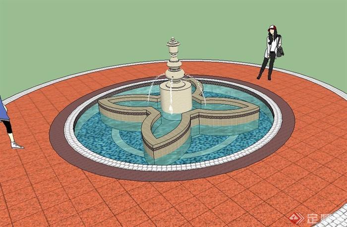 欧式喷泉水景设计su模型(2)