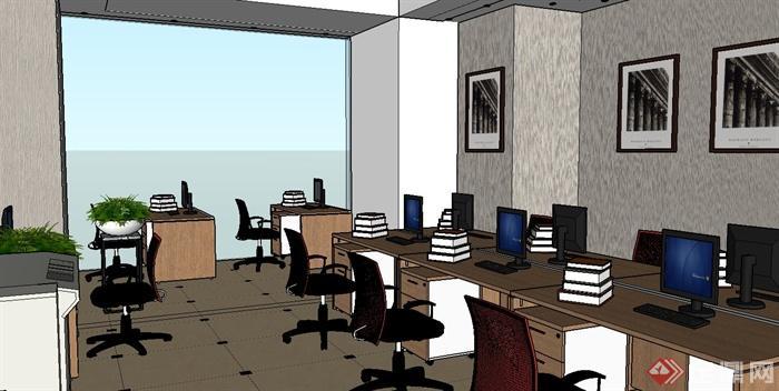 某办公室su草图大师模型附带渲染效果图(7)