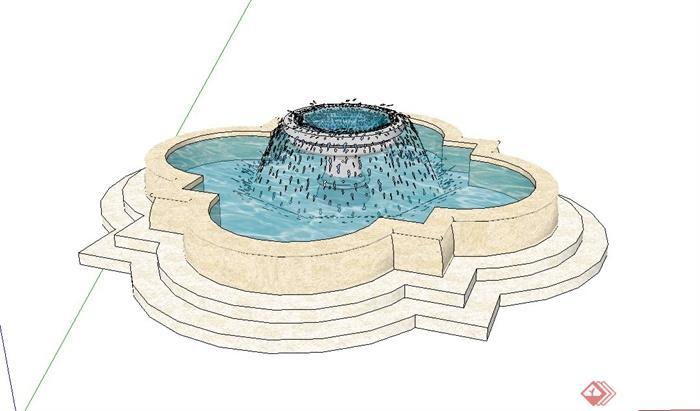欧式喷泉水池设计su模型[原创]