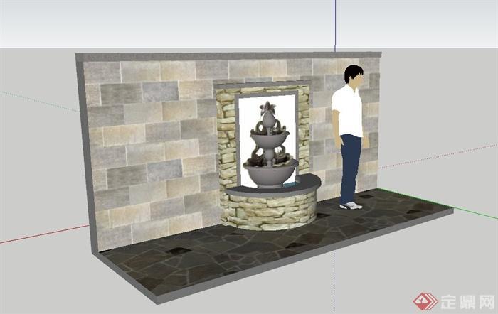 欧式水钵水景设计su模型(含景墙)(3)