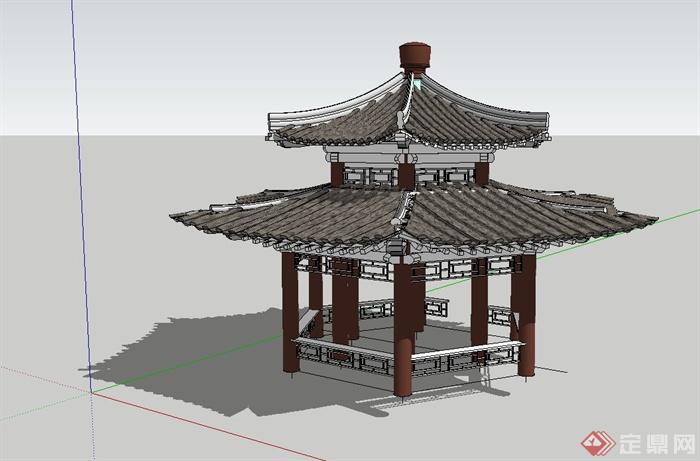 古典中式两层凉亭设计su模型