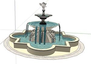 法式水钵水池设计SU(草图大师)模型