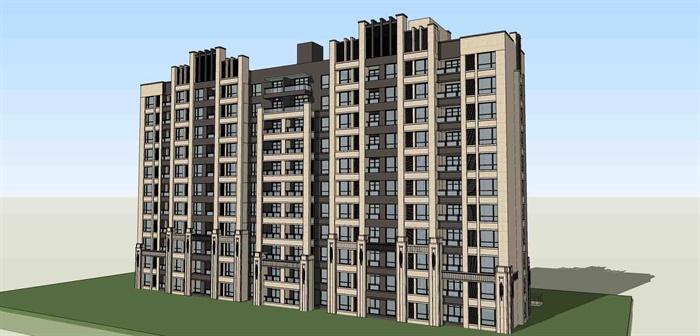 建筑设计某11层住宅方案设计(效果图 cad su)[原创]