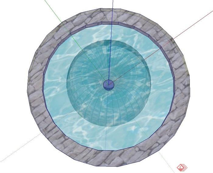 园林景观节点圆形喷泉水池设计su模型[原创]