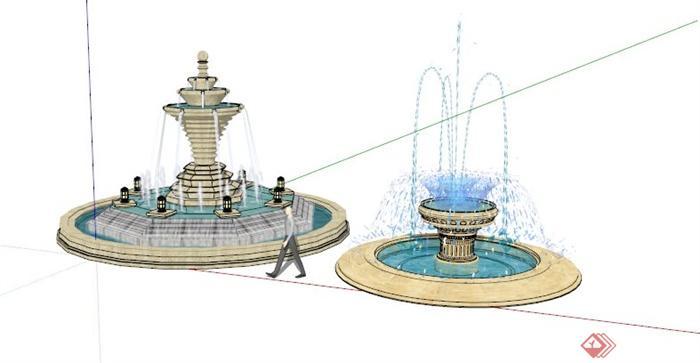 欧式线条喷泉水景组合园林景观设计su模型[原创]