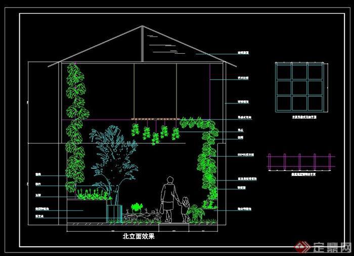 屋顶花园绿化设计cad平面图