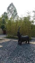 犀牛雕塑,园路,地面铺装,碎石地面,竹林