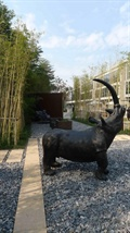 犀牛雕塑,园路,碎石路面,竹林
