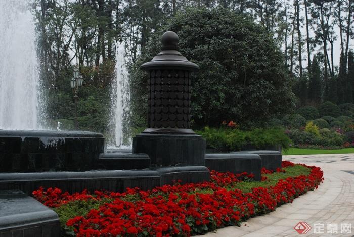 种植池,花卉植物去,灯箱,喷泉水景,住宅景观一串红