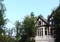 路燈,圍欄,圍欄欄桿,住宅景觀,別墅,車庫